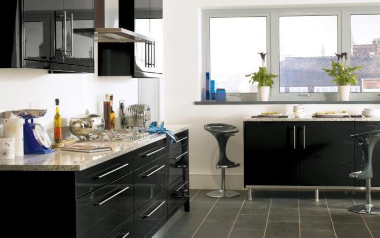 Gloss Kitchen Range  Haddington Black Gloss
