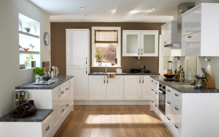 Gloss Kitchen Range  Lewesdon White Gloss Shaker
