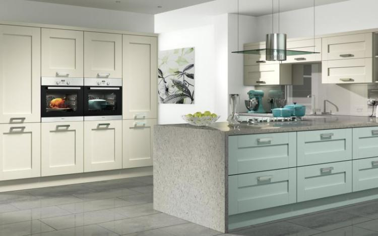 Painted Timber Kitchen Range  Windsor Shaker Ivory Powder Blue