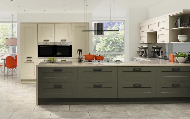 Painted Timber Kitchen Range  Windsor Shaker Painted Lava Stone